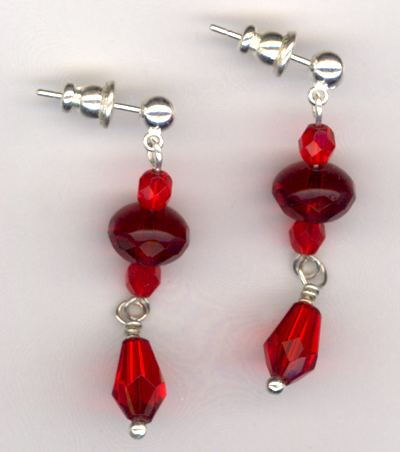 Red Crystal Elegance Crystal Silver Post Earrings