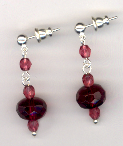 Fuchsia Crystal Elegance Crystal Silver Post Earrings