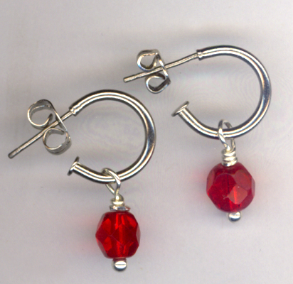 Red Crystal Small Silver Hoop Earrings