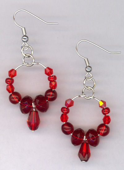 Lady in Red ~ Beaded Crystal Chandelier Earrings
