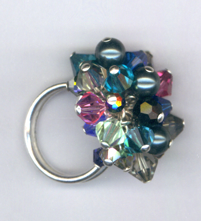 Stained Glass Swarovski Crystal Sterling Silver Cluster Ring