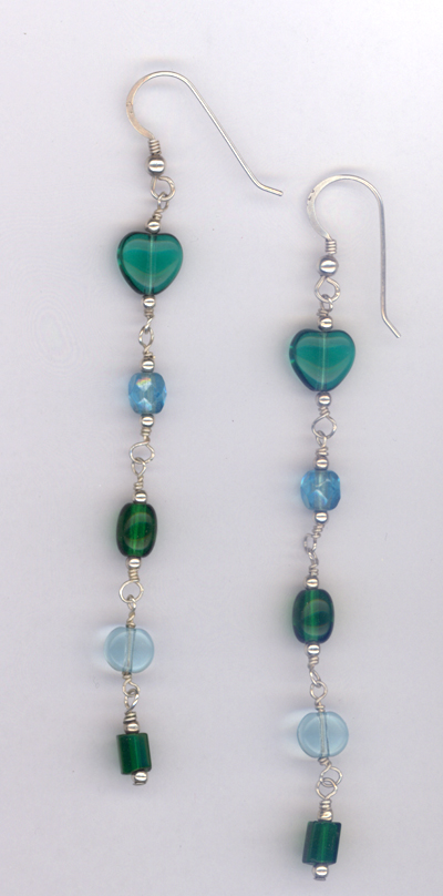 Ocean Blues ~ Beaded Sterling Silver Earrings
