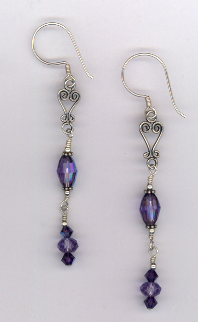 Purple Majesty ~ Swarovski Crystal Bali Earrings