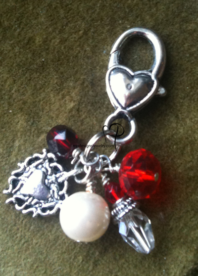 Crystal Heart Pearl silver key/purse charm