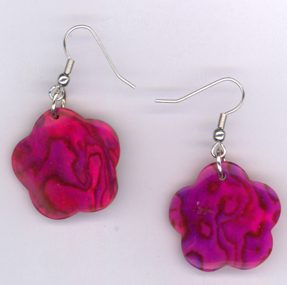 Flower Power Pink ~ Shell Earrings
