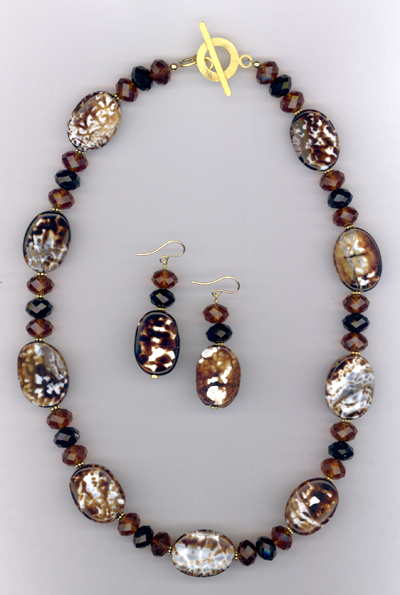 Cappuccino ~ Gemstone Crystal Beaded Necklace/Earring Set