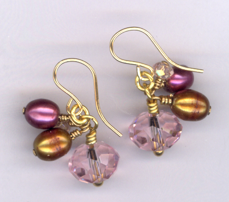 Kiss Me Kate ~ Gold Crystal Pearl Earrings