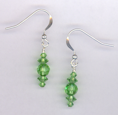 Peridot Swarovksi Crystal Sterling Silver Earrings