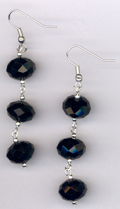 Triple Black Crystal Dangle Earrings