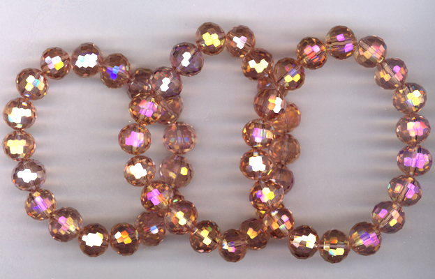 Rainbow Pink Triple Stretch Crystal Bracelets