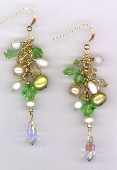 Golden Summer Breeze Pearl Crystal cluster Earrings