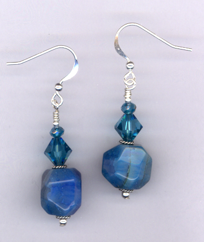 Bam Bam Blue ~ Agate Crystal Earrings