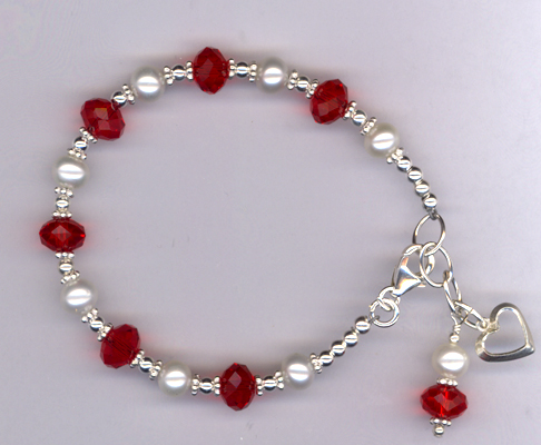 Beloved ~ Red Crystal White Pearl Sterling Charm Bracelet