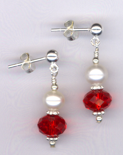 Beloved ~ Red Crystal White Pearl Sterling Post Earrings
