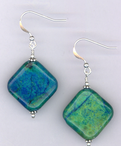 Emerald Isle ~ Chrysocolla Gemstone Sterling Earrrings