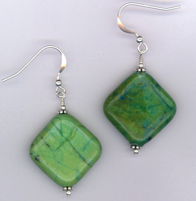 Emerald Isle ~ Chrysocolla Gemstone Crystal Sterling Earrrings