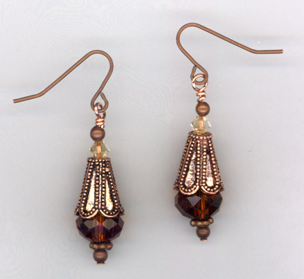 Melody ~ Vintage Copper Crystal Earrings