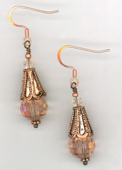 Peony Pink ~ Crystal Copper Earrings