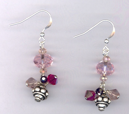 Pink It Is! Crystal Sterling Silver Earrings