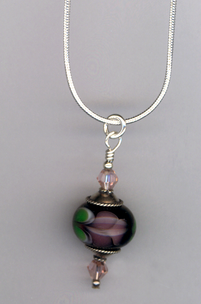 Lavender Rose ~ Lampwork Sterling Pendant Necklace