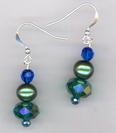 Emerald Isle ~ Crystal Pearl Stacked Earring