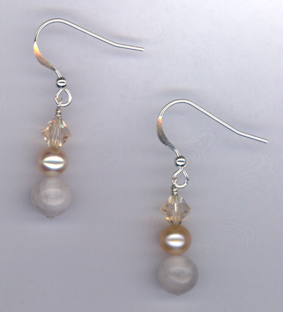 Desert Rose ~ Pearl Crystal Gemstone Earrings