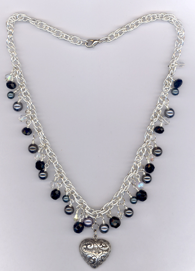 My Heart Beats For You ~ Jet Black Crystal Silver Necklace