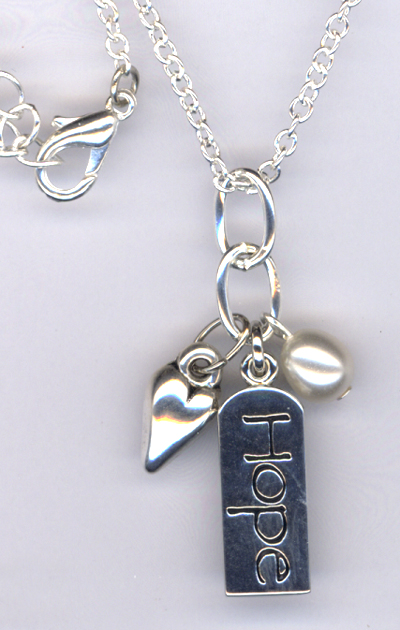 Hope ~ Silver Charm pearl Necklace