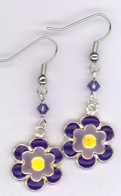 Don't Eat The Daisies ~ Purple Flower Charm Earrings