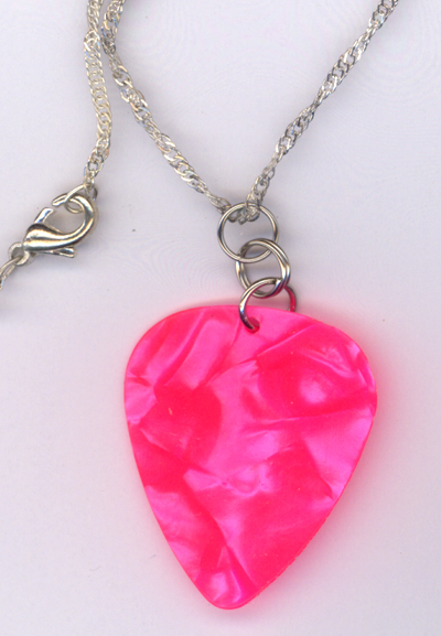 Hot Pink Pearl Guitar Pick ~ Delicate Silver Chain Necklace