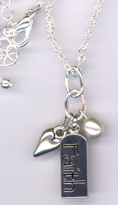 Faith ~ Silver Pearl Charm Necklace