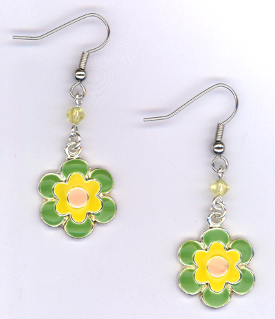 Don't Eat The Daisies ~ Lime/ Pink/Yellow Charm Earrings