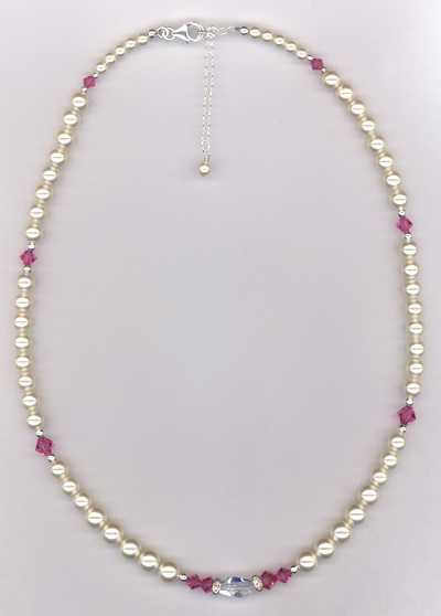 Custom Bridesmaid Swarovski Crystal Pearl Necklace
