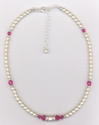 Custom Jr. Bridesmaid Swarovski Crystal Pearl Necklace