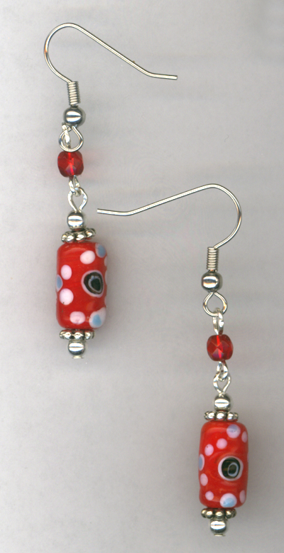 Whimsy Girl Red ~ Chunky Beaded Earrings