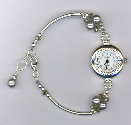 Silver Gray Sparkle ~ Swarovski crystal Beaded Watch