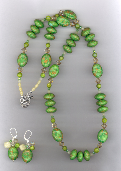 Squeeze The Lime ~ Turquoise Crystal Necklace/Earrings Jewelry Set