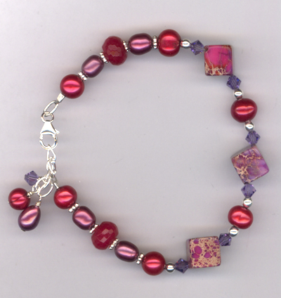 Ruby Slippers ~ Gemstone Pearl Charm Bracelet