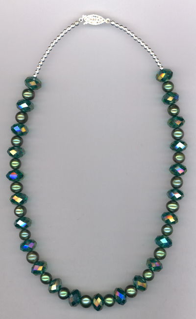 Emerald City ~ Crystal Pearl Necklace