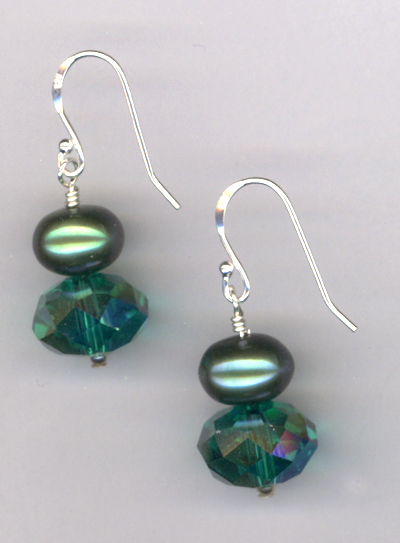 Emerald City ~ Crystal Pearl Earrings