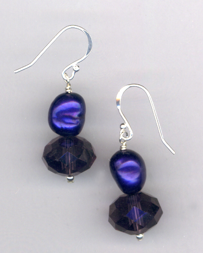 Windsor Violet ~ Pearl Crystal Earrings