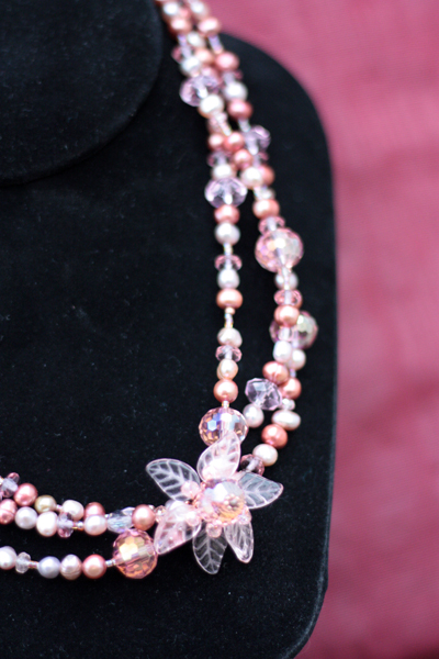 Peony Pink ~ Triple Layered Pearl Crystal Copper Necklace