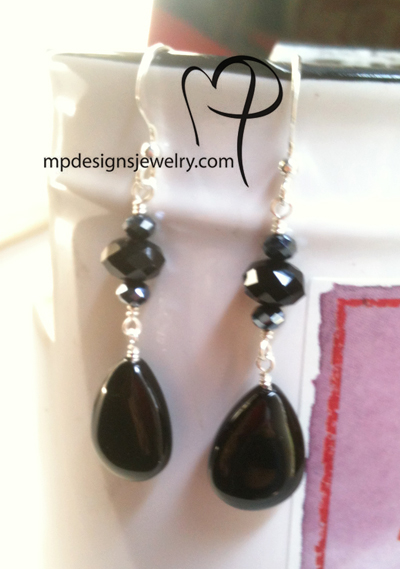 Black Is Beautiful ~ Crystal Sterling Silver Earrings