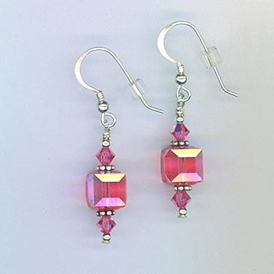 Rose Pink Cube Earrings