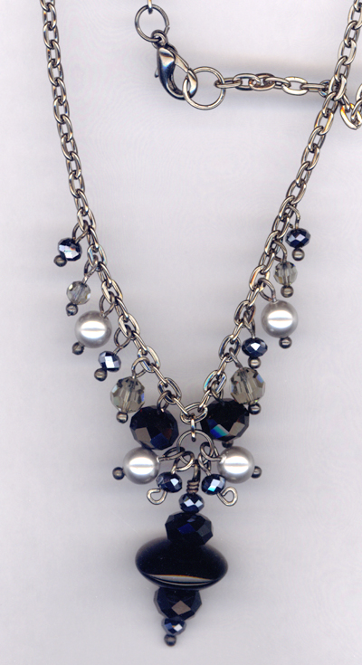 Black Crystal Cluster Drop Necklace