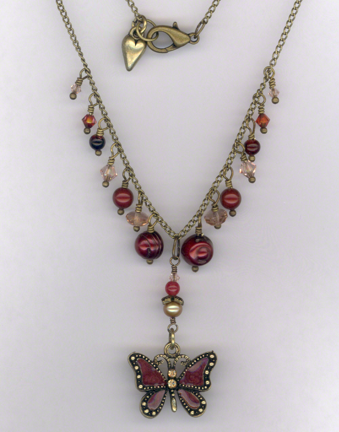 Fair Maiden ~ Gemstone Crystal Antique Red Gold Charm Necklace