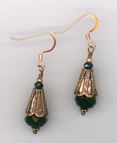 Black Knight ~ Copper Crystal Earrings