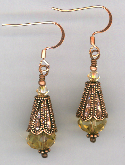 Golden Princess ~ Copper Crystal Earrings