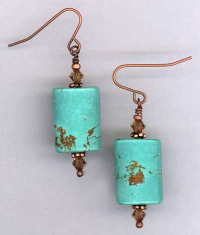 Desert Sky ~ Copper Turquoise Crystal Earrings