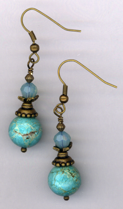 Desert Sky ~ Gold Turquoise Crystal Earrings